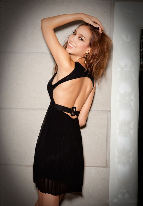Women Backless Pleated Chiffon Black Party Cocktail Dresses