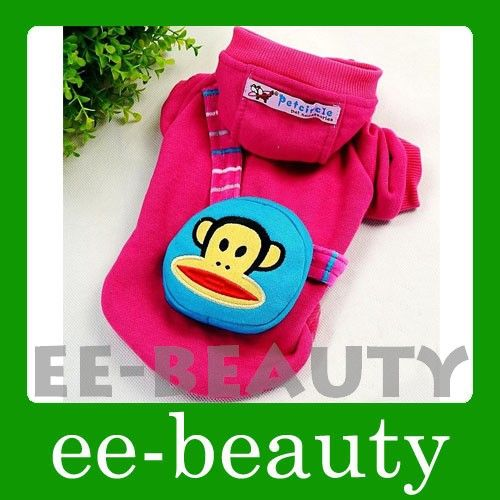 Colors Kitty Cat & Monkey Pet Dog Clothes Apparel Coat Bag Outfits